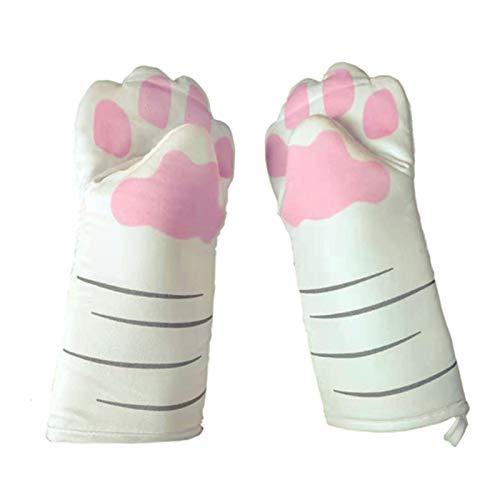 GTEFWZ Ofenhandschuhe Grillhandschuhe Katze kreative Küche Isolierung backen Handschuhe Verbrühschutz verdickte hohe Temperaturbeständigkeit Ofen