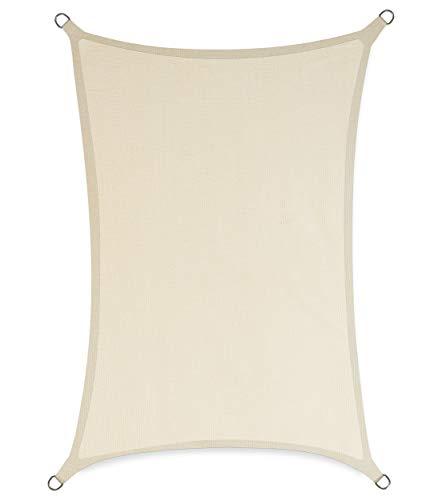sunnypillow Toldo con cuerdas de fijación 100 % HDPE | Protección contra el viento | Protección UV | Transpirable | Protección solar para jardín terraza y balcón rectangular 2 x 3 m beige