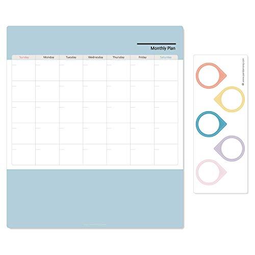 YZYZYZ Refrigerador Magetic Pizarra de borrado en seco Calendario Calendario mensual Nota con 5 Fotos de Pegatinas magnéticas Lindas Imanes de Nevera para Cocina y Oficina 11.7x13.4 Pulgadas