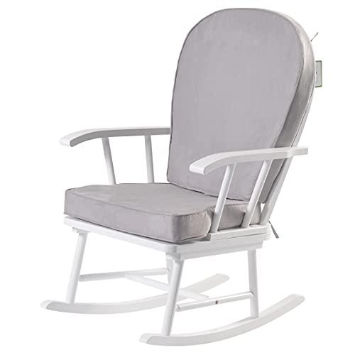 Kub® Hart Nursing Rocking Chair (White&Grey) - Detachable Padded Cushions, Smooth Rocking Motion, Easy to Assemble, Solid Hardwood Base