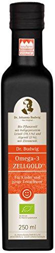 Dr. Budwig Omega-3 Zellgold - Das Original - Jetzt mit verbesserter Rezeptur und einer Extraportion DHA und EPA für ein gesundes Wachstum von Kindern und jungen Erwachsenen, 250 ml