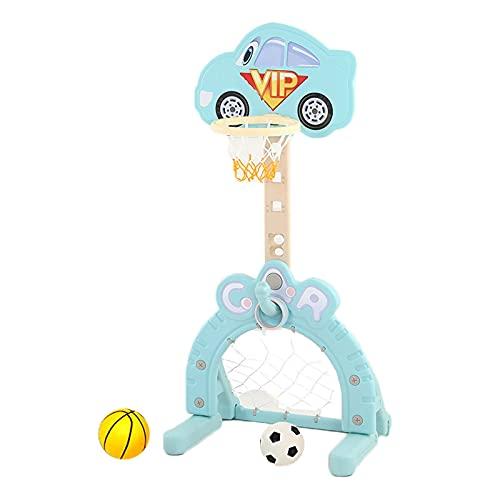 Basketball Hoop Canastas de Baloncesto para Casa, 3 en 1 Canasta Baloncesto Infantil, Juegos de Pelota al Aire Libre con Portería de Fútbol, Lanzamiento de Anillos (Color : Blue)