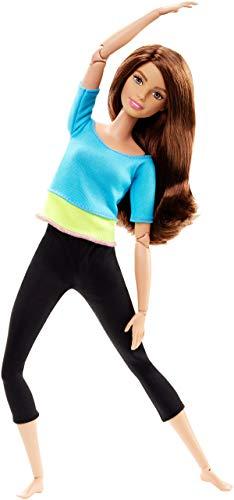 Barbie- Bambola Snodata, 22 Punti Snodabili per Tanti Movimenti, Top Azzuro/Giallo, DJY08