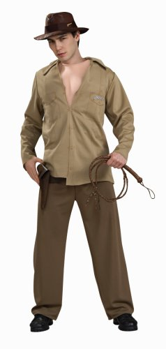 Indiana Jones and the Kingdom of the Crystal Skull Adult Deluxe Muscle Chest Costume, Brown, Standard