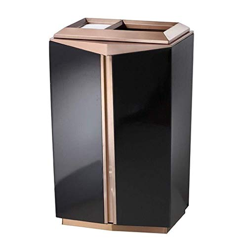 FENGRONG Garbage storage Modern Fashion Floor Ash Barrel Hotel High-grade Mirror Lobby Trash Can Creative Square Elevator Vertical With Ashtray Universal trash can (Color : A)