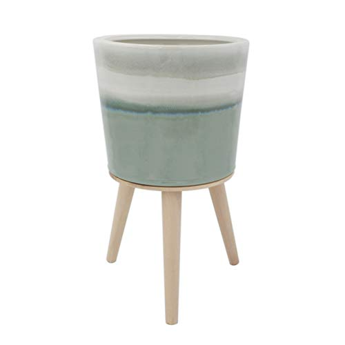 Amazon Brand – Rivet Mid-Century Stoneware Planter with Wood Stand, 15.94'H, Light Green Ombre