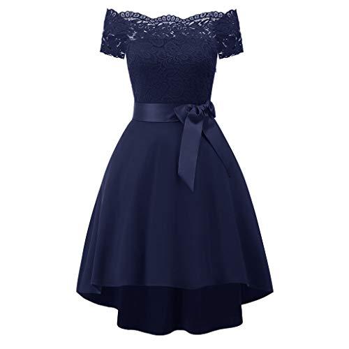 Lulupi Schulterfreies Kleid Spitzenkleid Damen,Elegant Cocktailkleid Abendkleider Brautjungfernkleider Kurzes Midikleid
