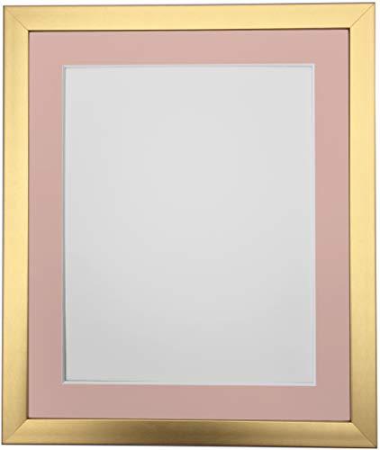 FRAMES BY POST - Cornice portafoto Dorata con passepartout Rosa, Dimensioni: 15 x 10 cm, 10 x 7,6 cm