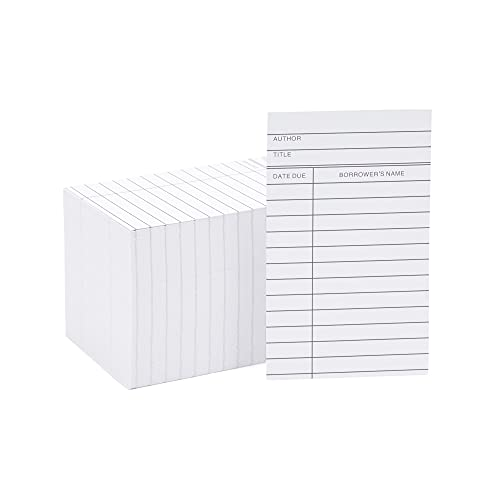 Pocket Library Cards - 250-Count Library Checkout Cards, Due Date Note Cards for School, Public Library Record Keeping, Tracking, Book Borrowing, White, 3 x 5 Inches