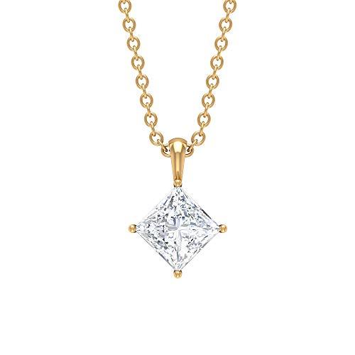 Rosec Jewels 14 quilates oro amarillo talla princesa Moissanite
