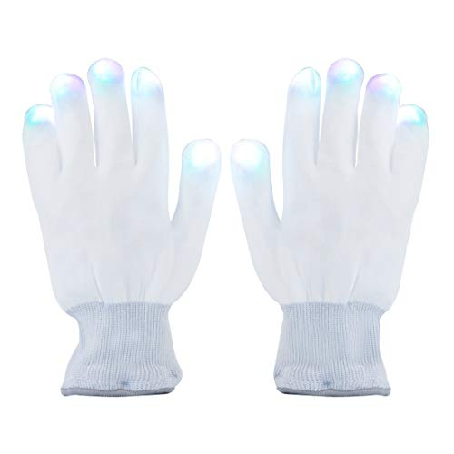 Magical 7-mode Colorful LED Gloves Rave Light Finger Lighting Flashing Gloves Unisex Gloves - One Pair (BlackWhite) (WHITE) by NEO+