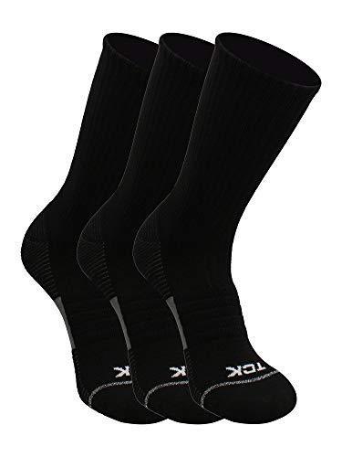 TCK Performance Basketball Socks 3 Pack Crew (Black, Small)