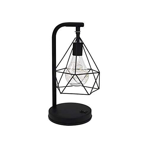 ZZM Lámpara de Mesa de Hierro diamantado, lámpara de Jaula de pájaros de Metal geométrica E27 luz de Noche Lámpara de Mesa de Noche nórdica Lámpara Decorativa Iluminación