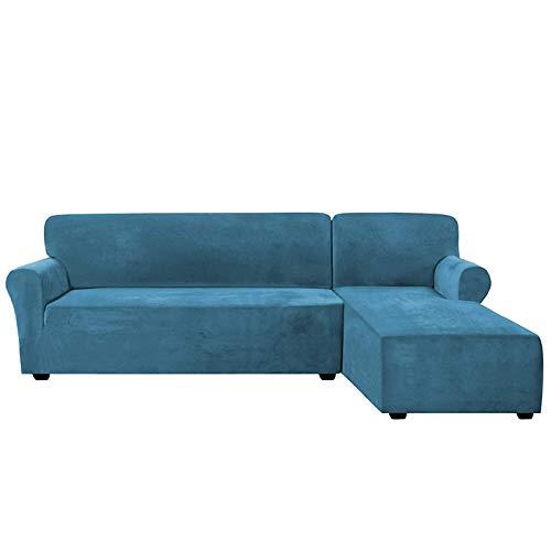 H-CAR Fundas de sofá seccionales en forma de L con mangas de chaise derecha, de terciopelo de alta elasticidad, protector de muebles de 2 plazas para sala de estar (XL, azul pavo real)