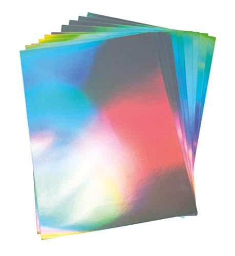Rayher 67300606 Effektpapier Hologramm, A4, silber, 210g/m2, Hologramm-Papier, Btl. 10 Blatt, säurefrei