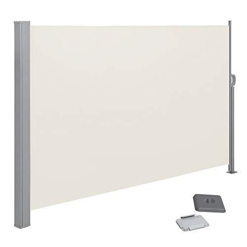 SONGMICS Seitenmarkise, ausziehbar,200 x 350cm (H x L), Sichtschutz, Sonnenschutz, Seitenrollo, für Balkon, Terrasse, Garten,beige GSA205E02
