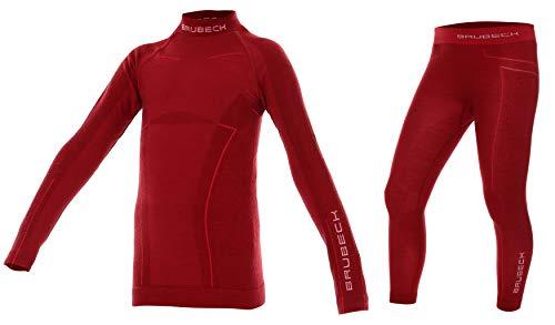 BRUBECK Merino Kinder Thermo Funktions-Unterwäsche Set: Shirt + Hose | Sport | Schutz | Outdoor | Ski-Wäsche | 41% Merino-Wolle | LS13690 + LE12130 152/158 Girl - Burgund