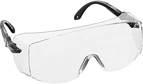 voltX 'OVERSPECS' Occhiali di sicurezza per uso industriale dotati di certificazione CE EN166F (lenti trasparenti) aste regolabili singolarmente, anti-nebbia, resistenti ai graffi, protezione UV400 / Safety Glasses