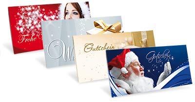 Verschiedene Gutscheinkarten (10 Stück) für Ihre Kunden zu Weihnachten, Silvester, Nikolaustag