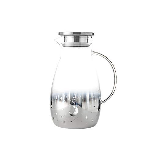 liangzishop Jarra de Agua Cristal Jarra de Vidrio Simple con Jarra de Agua de Acero Inoxidable con Pico y asa Jugo casero y té helado-2000ml Jarras de Vidrio (Color : Silver)