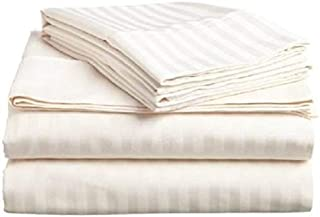 Waterbed Sheets Set Ivory Stripe 400 Thread Count 100% Cotton,Long-Staple Combed Pure Cotton Waterbed Sheets Sets Soft & Silky Sateen Weave- California King(72X84)