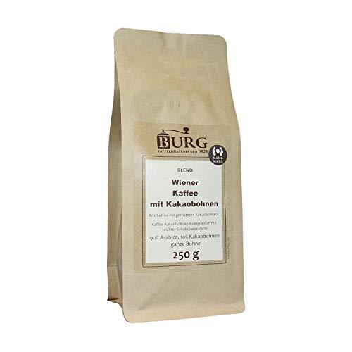 BURG Wiener Kaffee mit Kakaobohnen Gewicht 500 g, Mahlgrad extra fein gemahlen