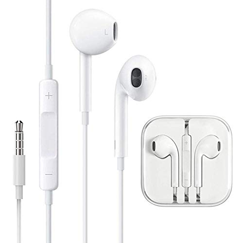 Earphones W/Remote & Mic Compatible for iPhone 5/6/6s/6plus and Above Series with 3.5mm Jack Supported for All Android Phones Wired Headset (White, in The Ear)