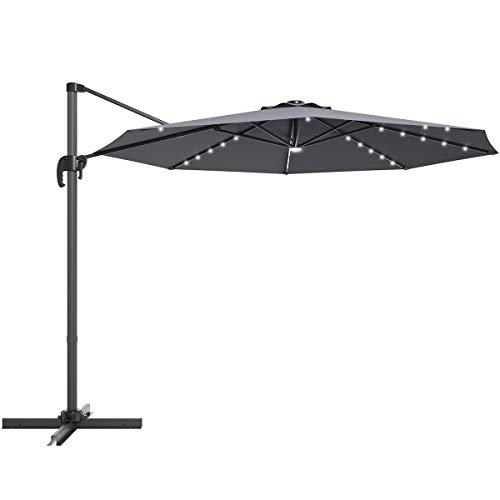 COSTWAY Parasol Colgante con Manivela Ø300cm Sombrilla Voladiza de Jardín Sombrilla con LED Solar Sombrilla para Jardín Terraza Piscina (Gris)