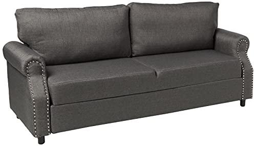Divano Roma Furniture EXP89-FB-3S-LGR Furniture Classic Sofas, Light Grey