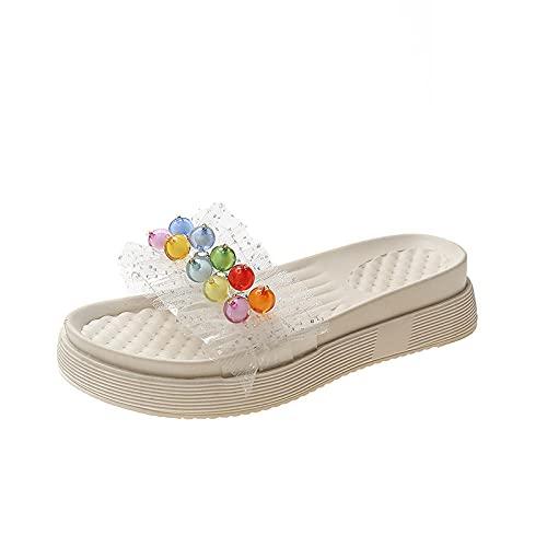 ypyrhh Sandalias de Punta Descubierta,Zapatos de Viscosa de Cabeza de Primavera y Verano,Zapatillas de Personajes Adultos-Color_36,Zapatillas de Estar por Casa de Mujer/Hombre