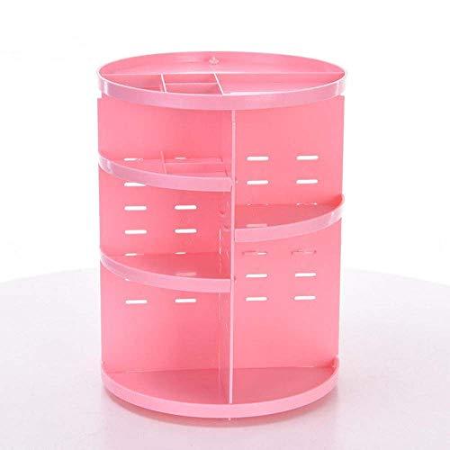 Organisateur cosmétique Stockage 360 ° maquillage rotatif Organisateur boîte brosse Porte-bijoux Organisateur de bureau Case cosmétiques Boîte de rangement ( Couleur : Rose , Taille : Taille unique )