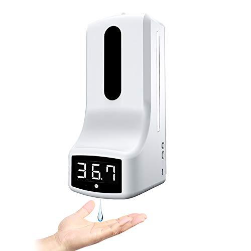 1000ML Dispensador de Desinfectante de Manos Automático Montado en la Pared con Termómetro, Medición de Temperatura K9 y Máquina de Desinfección Sin Contacto con Alarma para la Escuela en Casa
