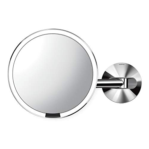 """simplehuman ST3016 8"""" Round Wall Mount Sensor Makeup Mirror, 5X Magnification, Hard-Wired (100-240v), Polished Stainless Steel"""