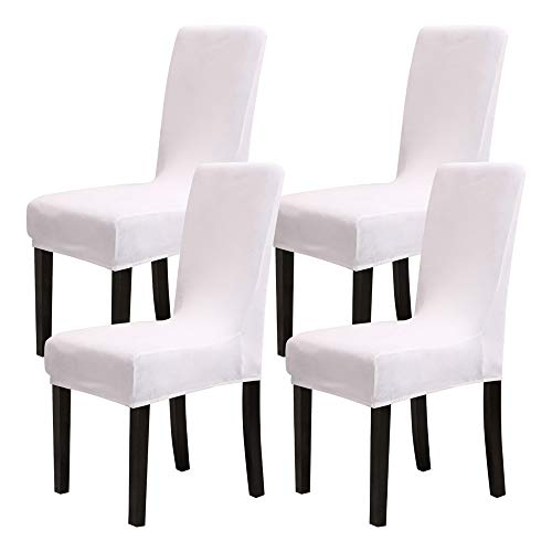 Mecerock Velvet Stretch Dining Room Chair Covers Soft Removable Dining Chair Slipcovers Set of 4 (White)
