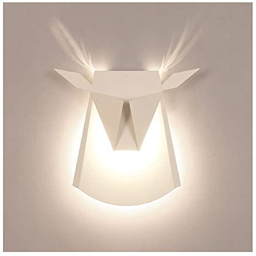 Lámpara De Pared con Forma De Animales Nórdicos, Sencilla Cabeza De Ciervo, Dormitorio, Noche, Salón, TV, Pasillo (Color : White)