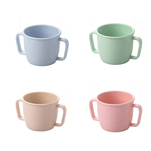 Small Size Bamboo Fiber 230ml Adult Children Cups Mugs 4pcs Set Unbreakable Tumbler Mug Cup for Water, Milk, Juice, Tea