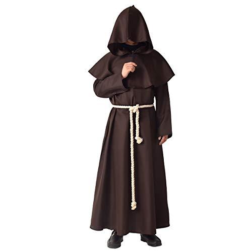 BLESSUME Prêtre Peignoir Frère Médiéval Capot Encapuchonné Renaissance Moine Costume (Marron, S)