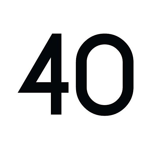 Zahlenaufkleber Nummer 40, schwarz, 30cm (300mm) hoch, Aufkleber mit Zahlen in vielen Farben + Höhen, wetterfest