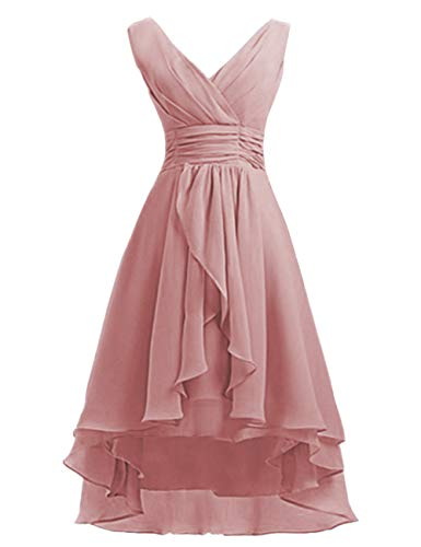 High Low Bridesmaid Dresses Short Chiffon Prom Cocktail Dress V-Neck Wedding Party Gowns Dusty Rose US22W