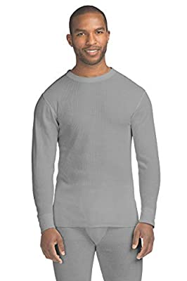Hanes Men's Waffle Knit Thermal Crew Neck Long Sleeve T-Shirt with FreshIQ, X-Temp Technology & Organic Cotton Heather Grey