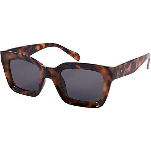 Gesh Gafas de sol cuadradas pequeñas retro para mujer, gafas de sol 90S, remaches transparentes, gafas Uv400 (ámbar)