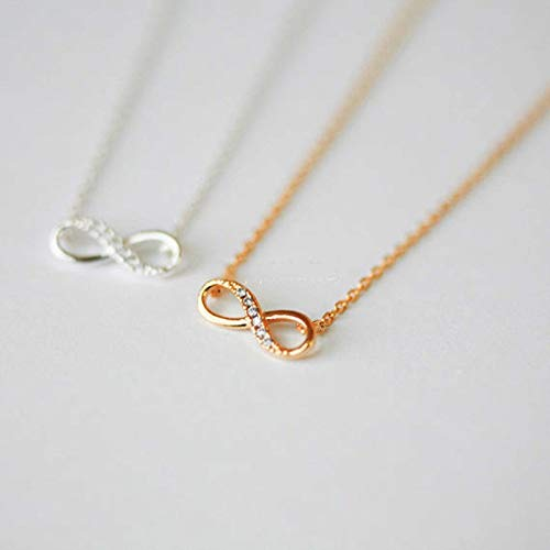 Dfgh New Tiny Infinity Crystal Pendant kettingen for vrouwen Choker Lucky Number Eight Geometric Zilveren lange keten ketting (Metal Color : Gold)