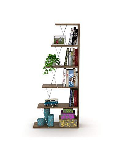 Effezeta Libreria bifacciale divisorio 5 Ripiani Moderna Elegante casa Ufficio Studio
