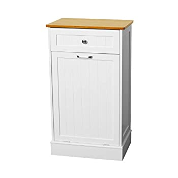 U-Eway Wooden Tilt Out Trash Cabinet Free Standing Kitchen Trash Can Holder or Recycling Cabinet with Hideaway Drawer Removable Bamboo Cutting Board ,Pet Food Locker White