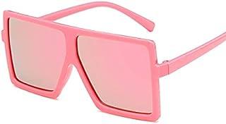 XKMY - XKMY Gafas de sol polarizadas cuadradas para niños, de gran tamaño, retro, UV400, gafas punk, gafas de sol para niño y niña (color: rosa)