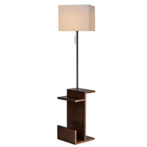 Lamparas de pie Lámpara de pie moderna de madera maciza con diseño de mesa Lámpara de pie de salón, lámpara de pie y mesa 2 en 1 interruptor de cable vintage, H 159CM * W35CM Lámpara de piso
