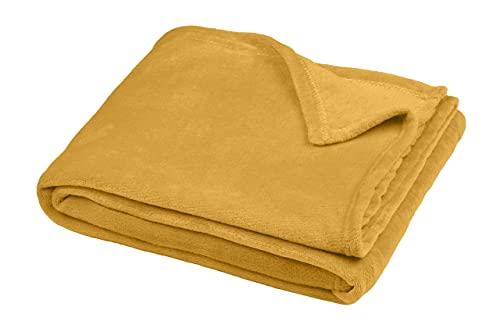 TIENDA EURASIA® Mantas para Sofá de Terciopelo - Manta Multiusos - Material 100% Microfibra - Tacto Suave y Sedoso - Disponibilidad en 6 Colores y 3 Tamaños (Mostaza, 125 X 150 CM)