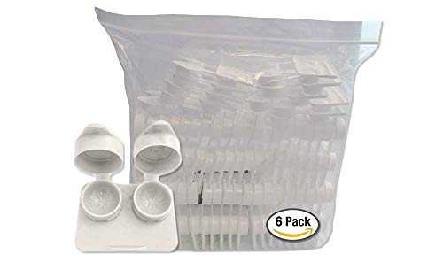Amcon Contact Lenses Cases Flat Ribbed Extra Deep Well - White, 6 Pack