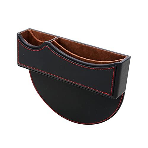 Caja de almacenamiento de relleno de Ga-p para asiento de coche, organizador de consola de asiento de piel sintética para 3 series 5 X1 X-3 X5, para teléfonomonedero llave (negro rojo, 2PCS)