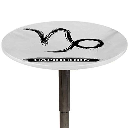 Elastic Edged Round Tablecloth Zodiac Capricorn Decorative Fabric Table Cover Ink Splashes Style Capricorn Symbol Monochrome Horoscope Pattern for Outdoor and Indoor Use Black and White Diameter 64'